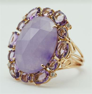anillo oro rosa con diamantes y piedras naturales amatistas